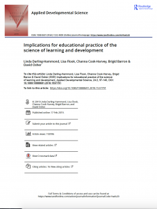 Implications for educational practice of the science of learning and development