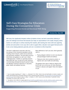 Self-Care for Educators Brief